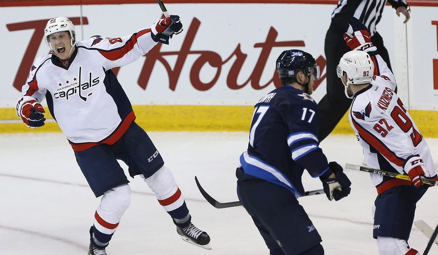 Washington Capitals' Jay Beagle (83) celebrates his goal against the Winnipeg Jets during the third period of an NHL hockey game Tuesday, Nov. 1, 2016, in Winnipeg, Manitoba. (John Woods/The Canadian Press via AP)
