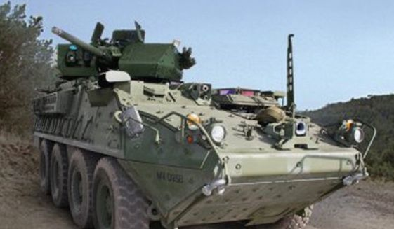 The U.S. Army will conduct a test of 50-kilowatt lasers on its Directed-Energy Maneuver-Short Range Air Defense (M-SHORAD) Strykers in 2021. (Image: U.S. Army)