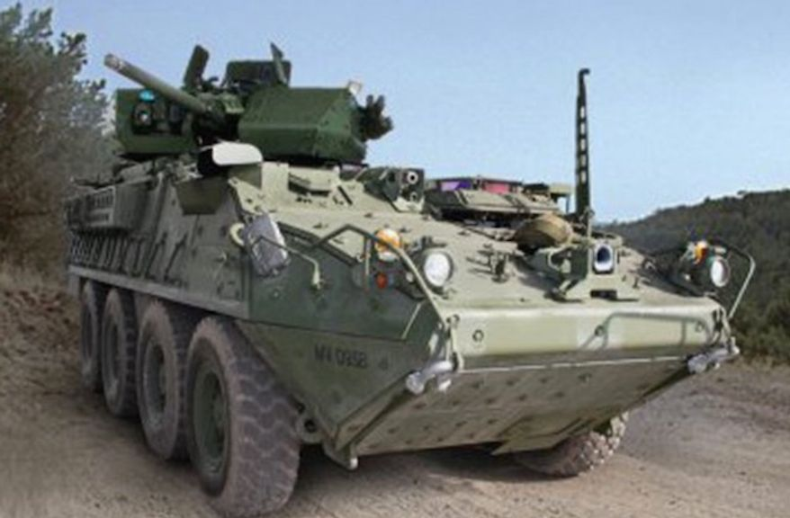 The U.S. Army will conduct a test of 50-kilowatt-class lasers on its Directed Energy-Maneuver Short-Range Air Defense initiative (M-SHORAD) Strykers in 2021. (Image: U.S. Army)