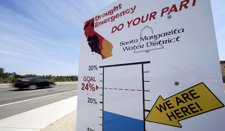 FILE - This July 2, 2015 file photo shows a sign encouraging residents to save water Rancho Santa Margarita, Calif. Amid a wet start to California's rainy season, and some mending of Californians' backsliding ways on water conservation, the advice of the state's drought czar: Relax and enjoy the rain. For now. The board will release Californians' latest monthly water-use figures Tuesday, Nov. 1, 2016, under the state's nearly three-year drought emergency. (AP Photo/Chris Carlson, File)