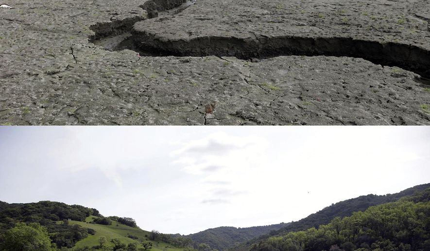 FILE - This combination of two file photos shows, top, the cracked and dry bed of the Almaden Reservoir on Feb. 7, 2014, in San Jose, Calif., and, below, the same reservoir full of water on March 14, 2016. Amid a wet start to California's rainy season, and some mending of Californians' backsliding ways on water conservation, the advice of the state's drought czar: Relax and enjoy the rain. For now. The board will release Californians' latest monthly water-use figures Tuesday, Nov. 1, 2016, under the state's nearly three-year drought emergency. (AP Photo/Marcio Jose Sanchez, File)