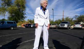 "Jerry Emmett talks to reporters at the Yavapai County Administration Building after casting her early ballot in the 2016 presidential election Tuesday, Nov. 1, 2016, in Prescott, Ariz. Emmett, who is 102 years old, voted for Franklin Delano Roosevelt in her first Presidential election. ""I am getting to vote for Hillary Clinton for president which has been my dream since Bill Clinton was President."" Emmett said. (Les Stukenberg/The Daily Courier via AP)"