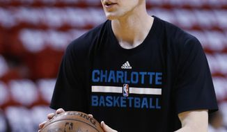 This April 27, 2016 photo shows Charlotte Hornets center Cody Zeller shooting the ball as he warms up before the start of Game 5 of an NBA basketball playoffs first-round series against the Miami Heat in Miami. A person familiar with the deal says Zeller has agreed to a four-year, $56 million contract extension with the Charlotte Hornets. The person spoke to The Associated Press on Monday, Oct. 31, 2016 on condition of anonymity because the move hasn't been announced. (AP Photo/Wilfredo Lee)