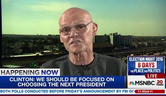 "Longtime Clinton ally James Carville said Monday that FBI Director James Comey's bombshell letter to lawmakers last week was a concerted effort by the FBI and House Republicans to ""hijack an election."" (MSNBC)"