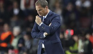 FILE - In this Thursday, Sept. 29, 2016 file photo, Inter Milan coach Frank de Boer looks down during the Europa League group K soccer match between Sparta Praha and Inter Milan in Prague. Inter Milan fired coach Frank de Boer on Tuesday, Nov. 1, 2016 after winning only four of the team's opening 11 matches, leaving the club in 12th place. (AP Photo/Petr David Josek)