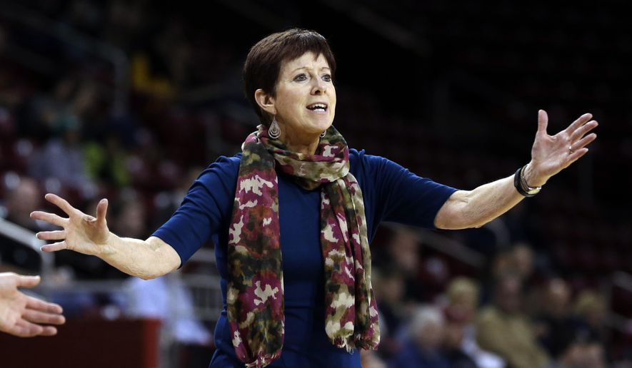 FILE - In this Thursday, Jan. 14, 2016, file photo, Notre Dame coach Muffet McGraw gestures during the third quarter of Notre Dame's win over Boston College in an NCAA college basketball game in Boston. McGraw and Notre Dame are ranked No. 1 in The Associated Press women's basketball poll for the first time in 15 years. The Irish garnered 14 first place votes on Tuesday, Nov. 1, from a 33-member national media panel to earn the top ranking in the preseason poll. Baylor, UConn, South Carolina and Louisville round out top five. (AP Photo/Elise Amendola, File)