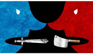 Illustration on the coarsening of public discourse by Alexander Hunter/The Washington Times