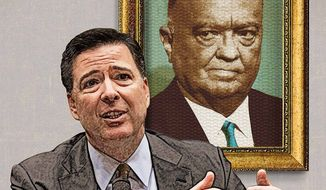 Hoover Looking Over James Comey Illustration by Greg Groesch/The Washington Times