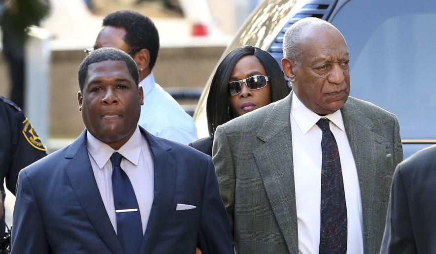 Bill Cosby, right, arrives for a hearing in his sexual assault case at the Montgomery County Courthouse on Wednesday, Nov. 2, 2016, in Norristown, Pa.  Cosby is returning to court to hear if a judge will allow his damaging decade-old testimony from an accuser's lawsuit to be used at his June criminal trial.  (AP Photo/Mel Evans)