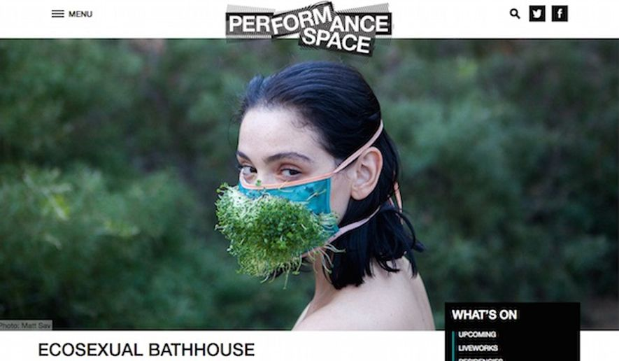 """Artists Loren Kronemyer and Ian Sinclair of Pony Express will bring their """"eco-sex bathhouse"""" to an experimental art festival in Sydney, Australia, Nov. 1 through Nov. 5. (Performance Space promotional screenshot with photo by Matt Sav)"""