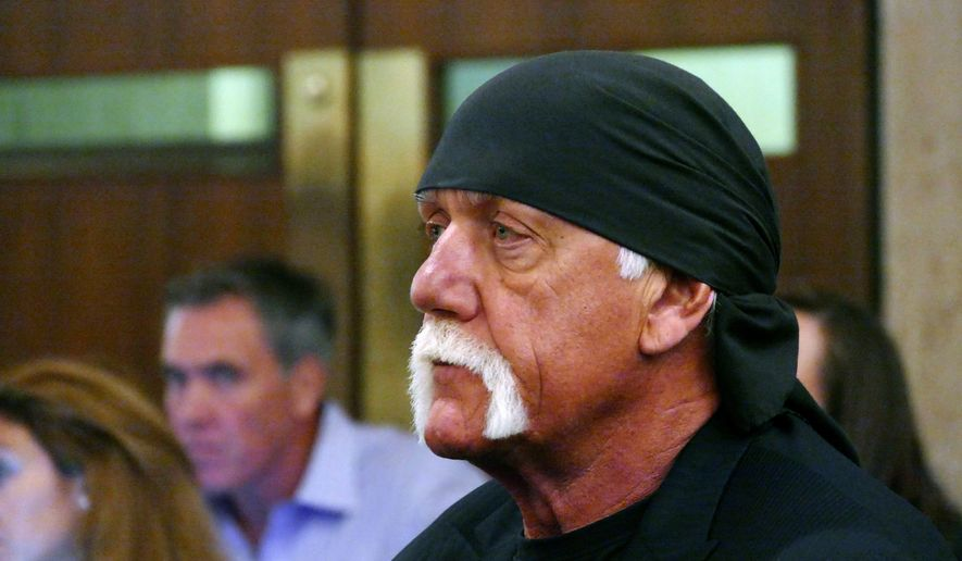 In this May 25, 2016, file photo, Hulk Hogan, whose real name is Terry Bollea, appears in court in St. Petersburg, Fla. The shell of Gawker has settled with Hulk Hogan for $31 million, ending a years-long fight that led to the media company's bankruptcy, the shutdown of Gawker.com and the sale of Gawkers other sites to Spanish-language broadcaster Univision. (Scott Keeler/The Tampa Bay Times via AP, Pool)
