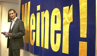 """This image released by Showtime shows Anthony Weiner in a scene from the documentary, """"Weiner."""" The film chronicles Weiner's initially promising but ultimately doomed 2013 New York mayoral campaign, with his wife and top Hillary Clinton aide, Huma Abedin, by his side. (Showtime via AP)"""
