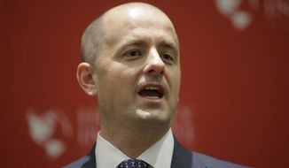 Independent presidential candidate Evan McMullin speaks during a rally, Wednesday, Nov. 2, 2016, in Salt Lake City. McMullin answered questions at a University of Utah candidate forum, as he attempts to fend off a new wave of critiques from Republican Donald Trump's supporters who are trying to prevent McMullin from winning what has become a toss-up state.(AP Photo/Rick Bowmer)