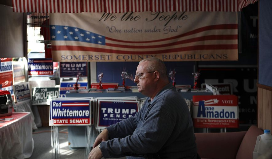 """In this Thursday, Oct. 20, 2016 photo, John Grooms of Madison, Maine, ponders the upcoming election at the Republican party headquarters in Skowhegan, Maine. Grooms said that he likes Donald Trump's stance on lowering taxes but that the candidate's theatrics make him a tough sell for some reserved New Englanders. """"I don't like his crass and brash way,"""" said Grooms. (AP Photo/Robert F. Bukaty)"""