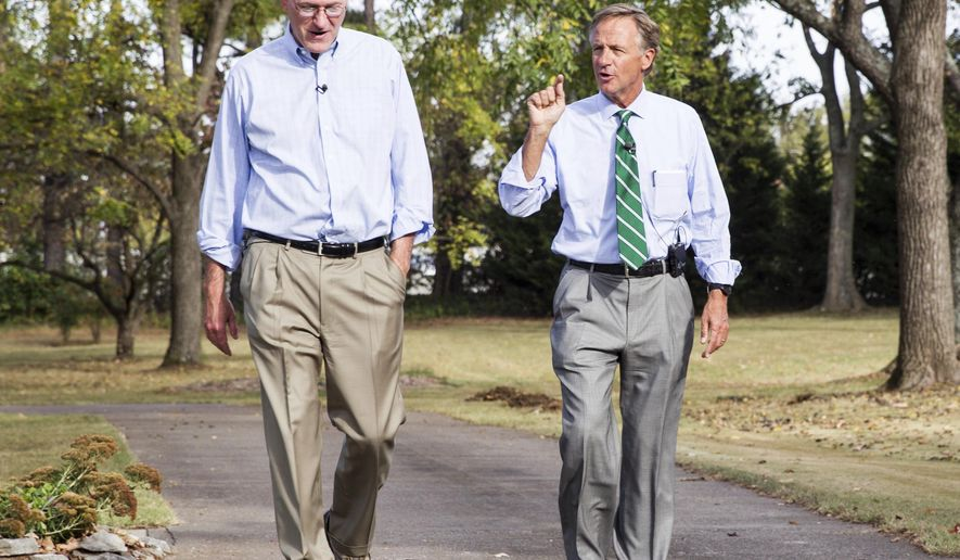 In this Oct. 25, 2016, photo, Republican Gov. Bill Haslam, right, campaigns with fellow Republican state Sen. Steve Dickerson in Nashville, Tenn. The Senate Republican Caucus in October spent $669,000 on television ads targeting Dickerson's Democratic challenger Erin Coleman. (AP Photo/Erik Schelzig)