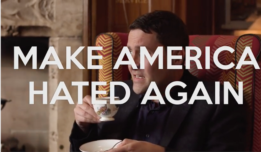 "Screen capture from the ""Idiots"" video by Save the Day PAC, in which an actor portraying a British man calls on Americans to vote for Donald Trump so Europe once again considers the U.S. a bigger ""idiot"" nation than the United Kingdom."