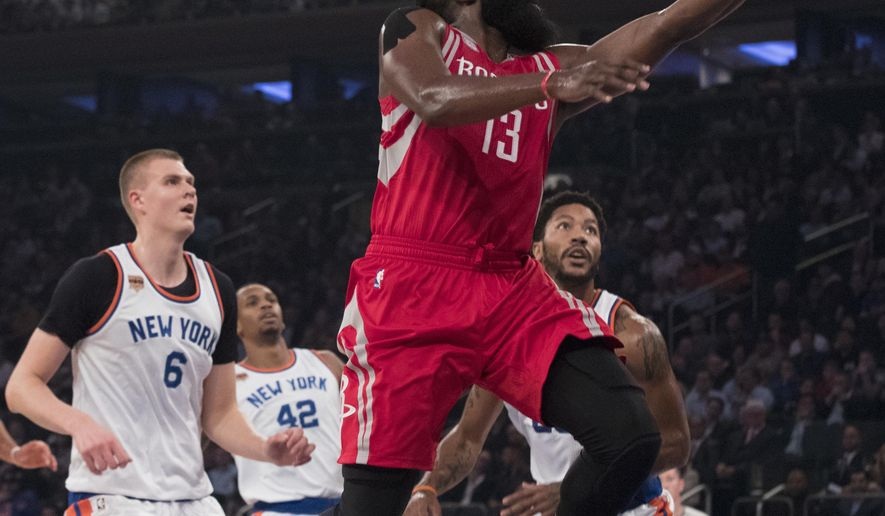 Houston Rockets guard James Harden (13) goes to the basket during the first half of an NBA basketball game against the New York Knicks, Wednesday, Nov. 2, 2016, at Madison Square Garden in New York. (AP Photo/Mary Altaffer)