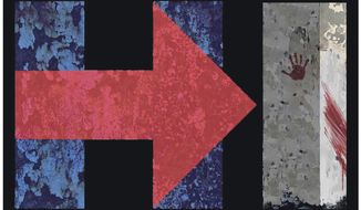 Illustration on Hillary's lack of presidential character in light of Benghazi by Alexander Hunter/The Washington Times