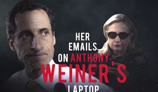 "Republican presidential nominee Donald Trump has released a new campaign ad that slams Hillary Clinton for emails that ended up on ""pervert Anthony Weiner's"" laptop. (YouTube, Team Trump)"