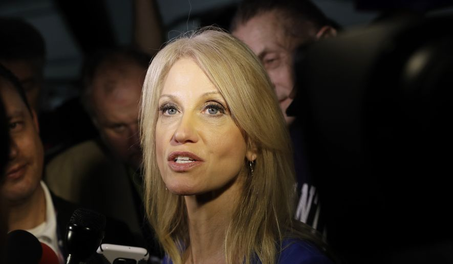 Kellyanne Conway, campaign manager for Republican presidential candidate Donald Trump, speaks with reporters. (AP Photo/Patrick Semansky) ** FILE **