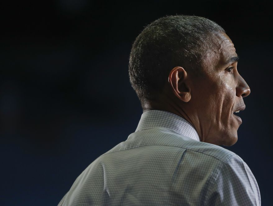 President Barack Obama speaks at a campaign rally for Democratic presidential candidate Hillary Clinton, Thursday, Nov. 3, 2016, at the University of North Florida in Jacksonville, Fla.  (AP Photo/Pablo Martinez Monsivais)