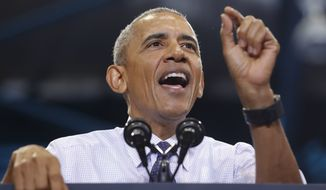 President Barack Obama speaks at Florida International University in Miami, Thursday, Nov. 3, 2016, during a campaign rally for Democratic presidential candidate Hillary Clinton. (AP Photo/Pablo Martinez Monsivais)