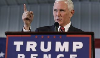 Republican vice presidential candidate, Indiana Gov. Mike Pence, speaks during a campaign rally, Thursday, Nov. 3, 2016, in Prole, Iowa. (AP Photo/Charlie Neibergall)