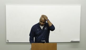Georgetown head coach John Thompson III pauses as he speaks during an NCAA college basketball news conference in Washington, Thursday, Nov. 3, 2016. (AP Photo/Carolyn Kaster) **FILE**