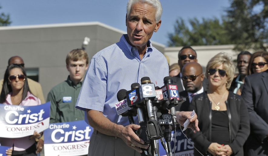 In this Oct. 20, 2015 photo, former Florida Gov. Charlie Crist announces during a news conference in St. Petersburg, Fla., that he is running for the U.S. House of Representatives. (AP Photo/Chris O'Meara)