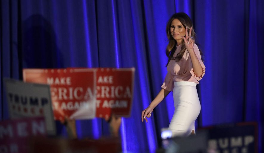 Melania Trump, husband of Republican presidential candidate Donald Trump, walks on stage to deliver a speech at the Main Line Sports Center in Berwyn, Pa., Thursday, Nov. 3, 2016. (AP Photo/Patrick Semansky)