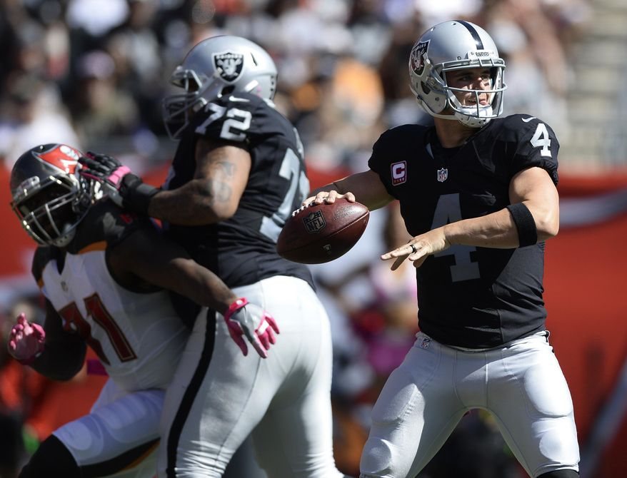 FILE - In this Oct. 30, 2016, file photo, Oakland Raiders quarterback Derek Carr (4) throws a pass against the Tampa Bay Buccaneers during the fourth quarter of an NFL football game in Tampa, Fla. In his third season as a pro, Carr has made significant strides and is now considered one of the top quarterbacks in the league. Carr threw for a franchise record 513 yards last week and joined Y.A. Tittle and Ben Roethlisberger as the only players ever to throw for at least 500 yards and four touchdowns in a game without an interception. (AP Photo/Jason Behnken, File)