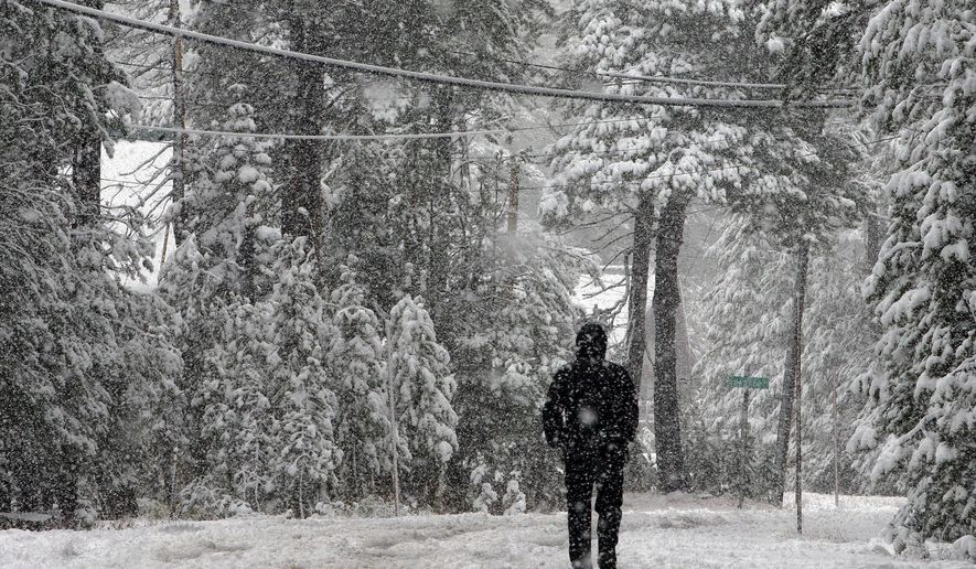 FILE -  This Oct. 17, 2016 file photo shows snow blanketing an area near Serene Lakes in Soda Springs, Calif. The U.S. Drought Monitor says a rainy fall has helped pull nearly one-fourth of California out of the state's five-year drought, Thursday, Nov. 3, 2016. (AP Photo/Rich Pedroncelli, File)