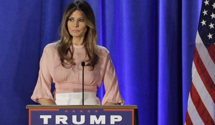 Melania Trump, wife of Republican presidential candidate Donald Trump, speaks at the Main Line Sports Center in Berwyn, Pa., Thursday, Nov. 3, 2016. (AP Photo/Patrick Semansky)