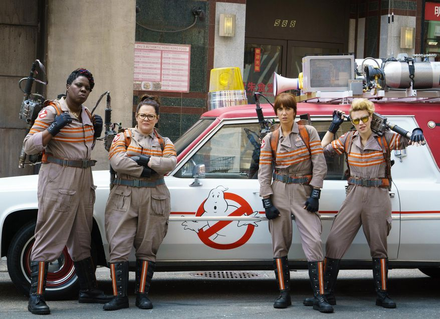 """In this image released by Sony Pictures, from left, Leslie Jones, Melissa McCarthy, Kristen Wiig and Kate McKinnon from the film, """"Ghostbusters.""""   (Hopper Stone/Columbia Pictures, Sony via AP, File) **FILE**"""