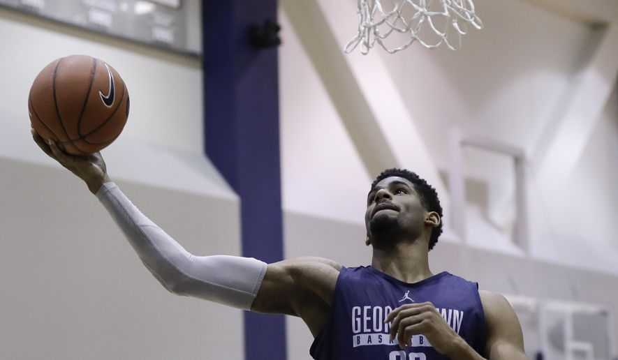 Georgetown guard Rodney Pryor shoots during NCAA college basketball media day in Washington, Thursday, Nov. 3, 2016. (AP Photo/Carolyn Kaster) **FILE**
