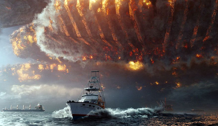 "A massive alien spaceship chases Julius Levinson's boat in ""Independence Day: Resurgence,"" now available on 4K Ultra HD from 20th Century Fox Home Entertainment."