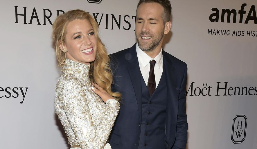 "FILE - In this Feb. 10, 2016, file photo, Blake Lively, left, and Ryan Reynolds attend amfAR's New York Gala honoring Harvey Weinstein at Cipriani Wall Street in New York. Reynolds revealed on TBS' ""Conan"" Nov. 3, 2016, that his new baby with Lively is a girl. (Photo by Charles Sykes/Invision/AP, File)"