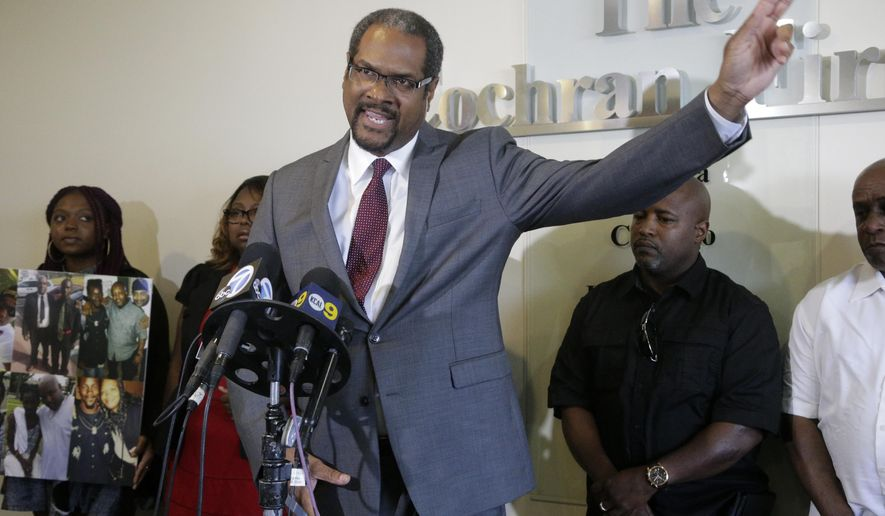 FILE - In this Aug. 11, 2016 file photo, Brian Dunn, an attorney for the family of an unarmed man speaks during a news conference in Los Angeles. Attorney Dunn says he will file a claim against the city on Thursday, Nov. 3, 2016, on behalf Alfred Olango's widow, Taina Rozier, and Olango's two daughters, who are ages 16 and 12. The claim seeks damages for Olango's death and calls for additional training to help officers deal with the mentally ill, Dunn told The Associated Press. (AP Photo/Nick Ut, File)