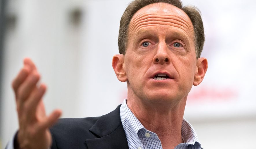 U.S. Sen. Pat Toomey, R-Pa. delivers remarks during a campaign stop at Pulverman Metal Fabrication company in Dallas, Pa. on Wednesday, Nov. 2, 2016. (Christopher Dolan/The Citizens' Voice via AP)