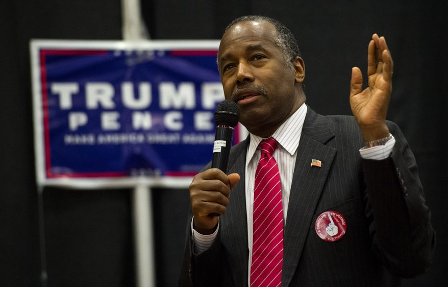 Republican Dr. Ben Carson speaks during a rally for Republican presidential candidate Donald Trump Friday, Nov. 4, 2016, at The Classical Academy in Colorado Springs, Colo. Dr. Carson and Oklahoma Gov. Mary Fallin campaigned for Trump.  (Christian Murdock/The Gazette via AP)
