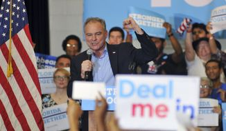 Democratic vice presidential candidate Tim Kaine speaks at the Florida Institute of Technology, Friday Nov. 4, 2016 in Melbourne, Fla. (Tim Shortt/Florida Today via AP)