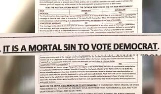 A Catholic church in San Diego is under fire for a handout parishioners received on the Democratic Party. The leaflet, created by an outside group, said voting for Democrats was a mortal sin. (NBC-7 San Diego)