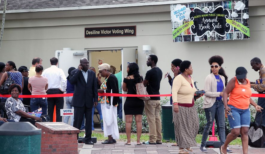 Voters stand in line outside the North Miami Public Library waiting to cast ballots during early voting, Friday, Nov. 4, 2016, in North Miami, Fla. (Roberto Koltun/Miami Herald via AP) ** FILE **