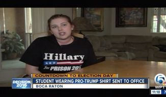 """Maxine Yeakle, a senior at Boca Raton High School, said she was threatened with suspension after she refused orders to change out of her """"Hillary for Prison 2016"""" shirt. (WPTV)"""