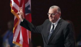 FILE - In this July 21, 2016 file photo, Phoenix, Arizona Sheriff Joe Arpaio walks on the stage to speak during the final day of the Republican National Convention in Cleveland, Ohio. Arpaio disbanded a SWAT team that focused on handling dangerous jail inmates at a time when the elite unit was in high demand due to a spike in assaults by inmates on guards, records show. (AP Photo/Paul Sancya, File)