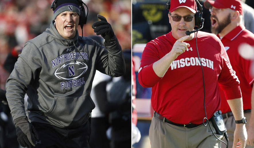 FILE - At left, in a Nov. 21, 2015, file photo, Northwestern head coach Pat Fitzgerald gestures during the first half of an NCAA college football game against Wisconsin, in Madison, Wis. At right, in an Oct. 22, 2016, file photo, Wisconsin head coach Paul Chryst reacts during the first half of an NCAA college football game against Iowa, in Iowa City, Iowa. Wisconsin visits Northwestern, a team that has given the Badgers all sorts of trouble in the past decade or so. (AP Photo/File)