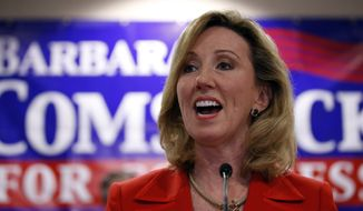 Then-Virginia Republican Congressional candidate Barbara Comstock speaks in Ashburn, Va., on Nov. 4, 2014. (Associated Press) **FILE**