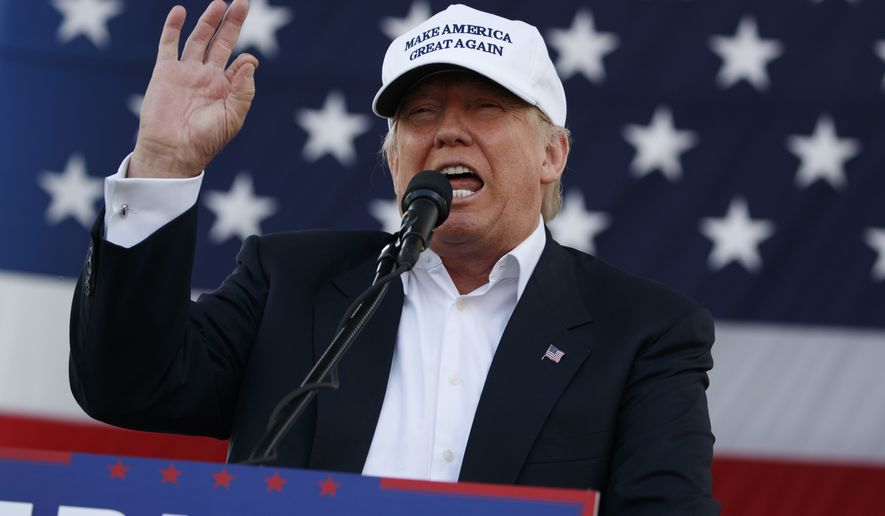 This is a Wednesday, Nov. 2, 2016 file photo of Republican presidential candidate Donald Trump speaks during a campaign rally in Miami. (AP Photo/ Evan Vucci, File)