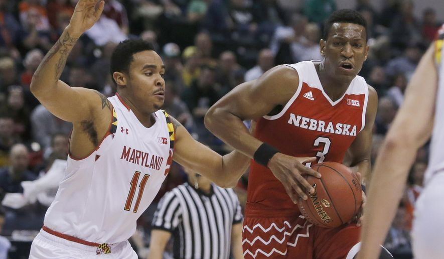 ADVANCE FOR WEEKEND EDITIONS, NOV. 5-6- FILE - In this March 11, 2016, file photo, Nebraska's Andrew White III (3) drives past Maryland's Jared Nickens (11) during the first half of an NCAA college basketball game in the quarterfinals at the Big Ten Conference tournament in Indianapolis. . White began his college basketball career at Kansas, played a season at Nebraska and will wrap it up at Syracuse. (AP Photo/Kiichiro Sato, File)