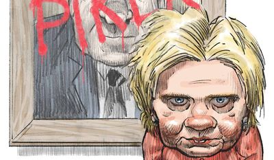 Illustration comparing Hillary's crimes to Nixon's by Alexander Hunter/The Washington Times